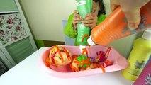 Vivant et bébé banane bain défi couleur couleur enfants arc en ciel jouets la télé shopkins