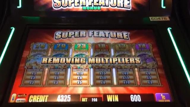 SUPER FEATURE BIG WIN SUNSET KING SLOT MACHINE BONUS 3 MULTIPLIERS! Aristocrat Slots