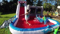 Grandes familia divertido gigante inflable en al aire libre tiburones diapositiva juguetes tobogán Slip-n-slide