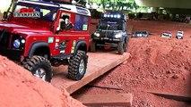 7 trucks mudding! Trail finder 2 hilux Axial scx10 Jeep Defender RC offroad adventures Par