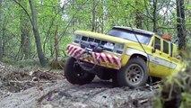 Scale rc 4x4 Truck Tow recovery with car trailer