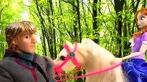 Poupées gelé dos de cheval partie pique-nique Princesse équitation séries Disney anna kristoff 28 barbie v