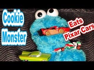 Cookie Monster Count n' Crunch Eats Pixar Cars
