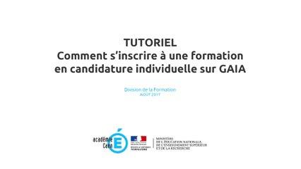 Tutoriel : Comment s'inscrire à une formation en candidature individuelle sur GAIA