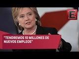 Hillary Clinton asegura que generará 10 millones de empleos / Debate Hillary Clinton y Donald Trump