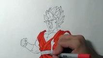 Bleu dessiner Comment à Il Goku super saiyan kaioken
