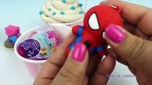 Crema pastelitos (cupcakes) por ejemplo huevo huevos huevos huevos congelado hielo Niños jugar plastilina juego hombre araña sorpresa doh