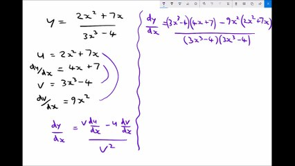 Quotient Rule for Differentiating a Function Divided by a Function