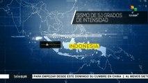 Indonesia: sismo de 5,1 grados sacude la isla de Sumatra