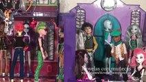 Juguetes de Monster High en español - Fiesta de bienvenida al instituto MH y muñeca Dracul