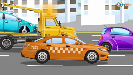 The Tow Truck helps The Little Car | Service & Emergency Vehicles | Trucks Cartoons for children