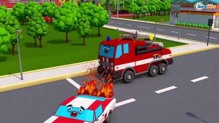 Learn Colors with Baby and Little Fire Truck, Funny Kids Video Emergency Cars & Trucks Cartoons
