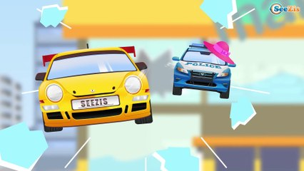 Yellow Race Cars & Sports Car Dangerous Race | Service & Emergency Vehicles Cartoons for children