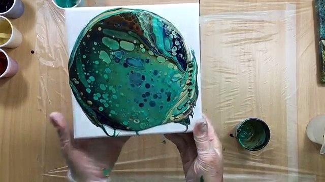 ( 180 ) acrylic pouring dark colours 20 cm x 20 cm