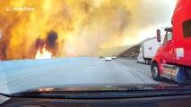 Ils roulent à travers l'incendie de Los Angeles sur l'autoroute !