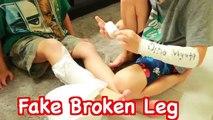 FAKE INJURY PRANK~ Fake Broken Arm Toby Fake Sick FUNNY Kids Prank DIY Fake Cast