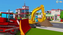 Cars Videos for Kids & Children Bulldozer w Excavator and Trucks 3D Cartoons Cars & Trucks Stories