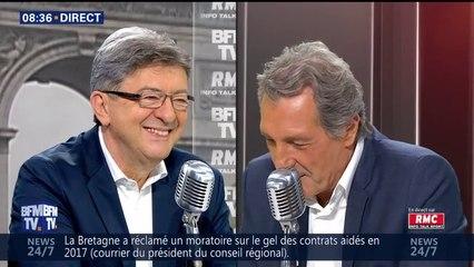 Jean-Luc Mélenchon face à Jean-Jacques Bourdin sur BFMTV