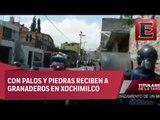 Enfrentamiento entre mototaxis y granaderos en Xochimilco