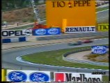 Gran Premio di Spagna 1990: Sorpasso di Mansell a N. Piquet, ritiro di Martini, pit stop di Dalmas e sosta di N. Piquet
