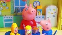 Dans le avec Peppa Pig jouant un jeu amusant de cache-cache amis