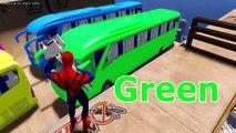 Apprendre les couleurs pour enfants avec couleur des voitures sur autobus et homme araignée apprentissage les couleurs vidéos pour