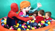 Babys balls pit Frozen Anna Spider man and Kinder surprises with Babys adventure funny kids video