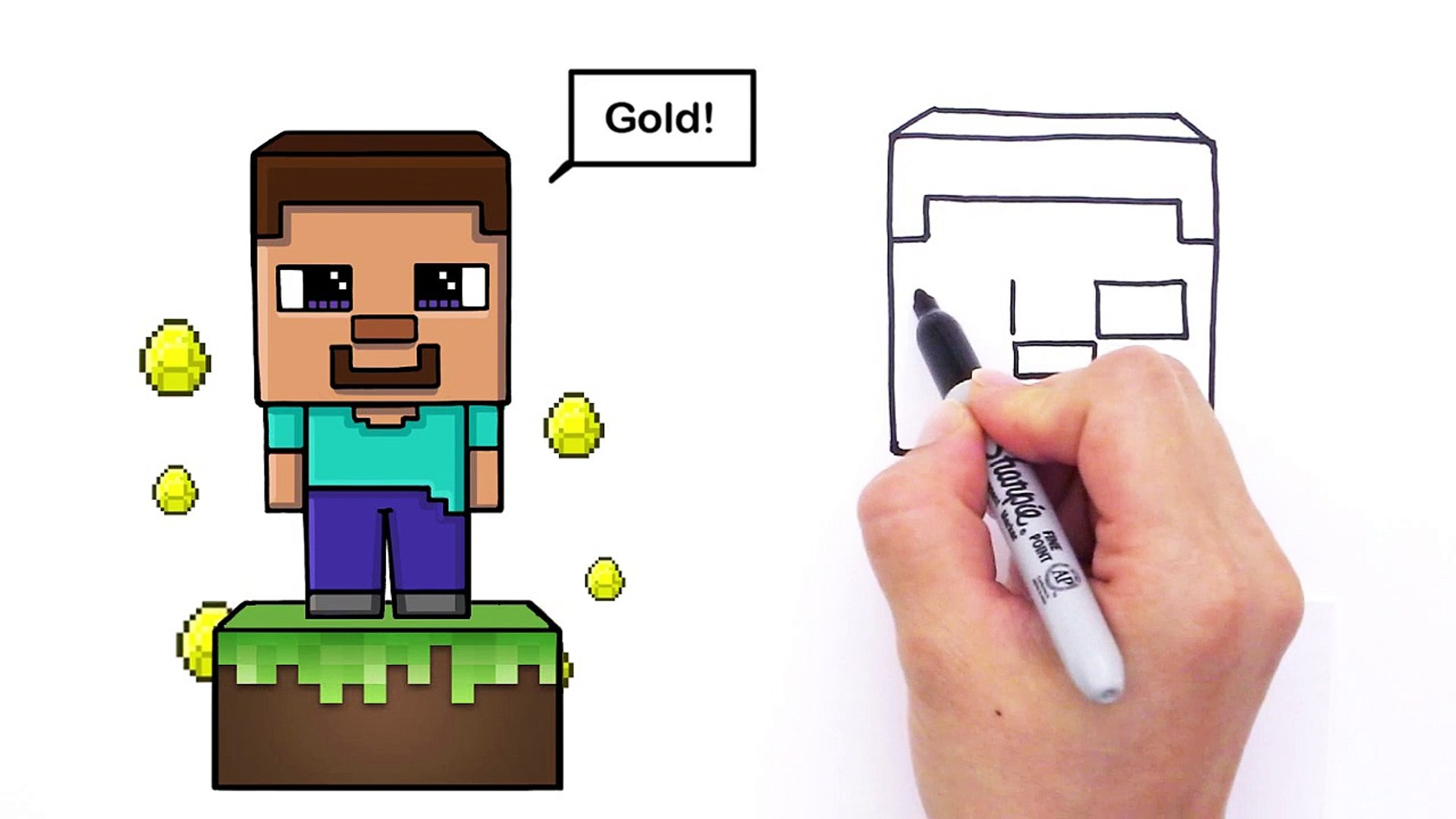 minecraft steve drawing step by step