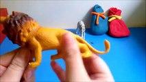 Play doh Jungle animals giraffe zebra lion rhinoceros surprise eggs - Eg Box Play Doh Anim