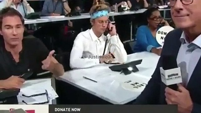 Justin Bieber At The Hand in Hand Event & Apple Donates $5 Million