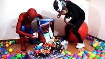 GIANT Ball Surprise Cup Spiderman Venom Cars Rhino Armor Superhero Toys Kid Playing Video