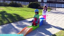 Kids Roller Coaster Ride, Snow Sled Slide Playtime Fun and Playground Slides! Family Playtime!!