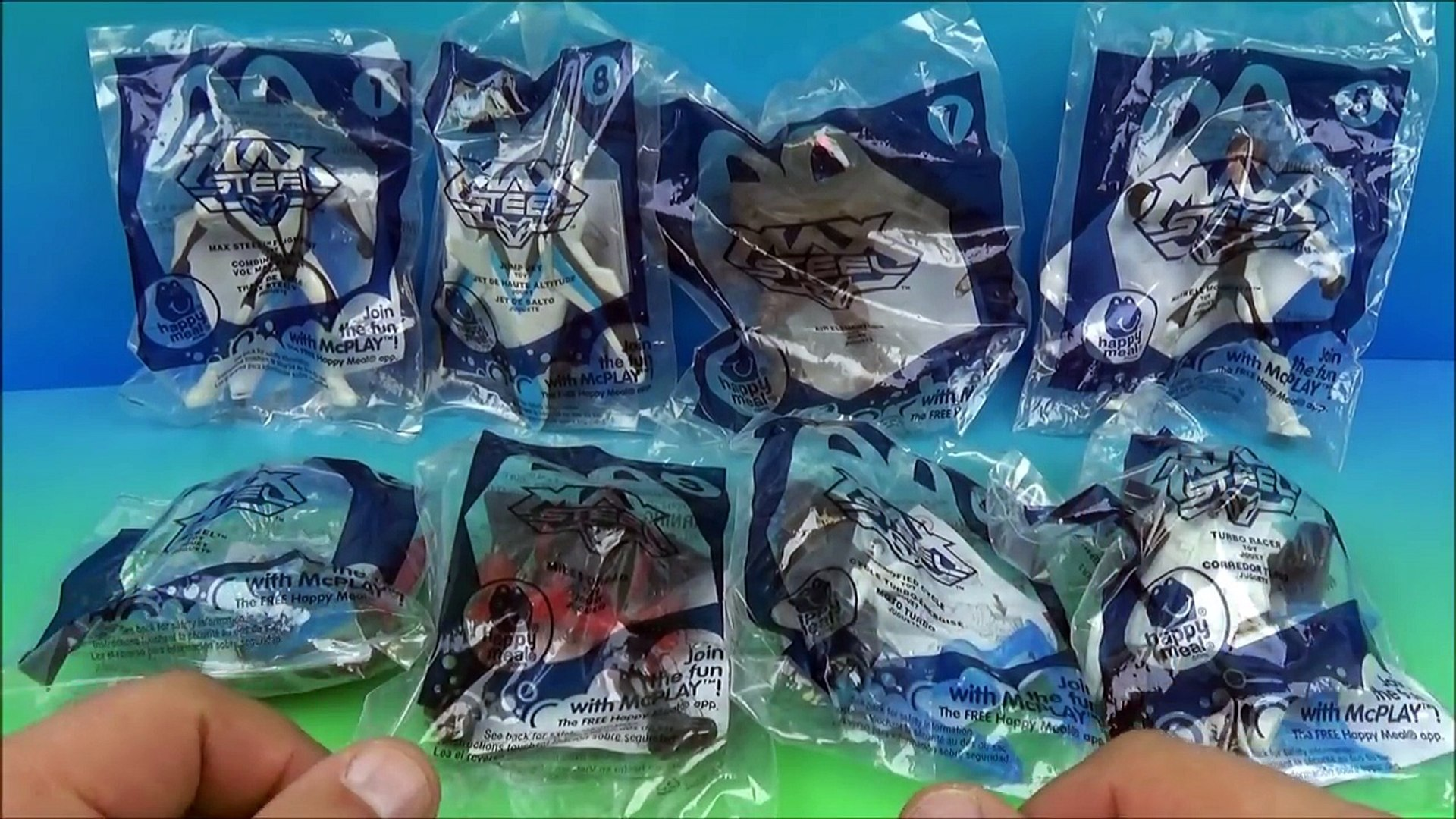 New Max Steel Set Of 8 Mcdonalds Happy Meal Kids Toys Video Review