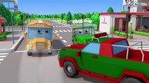 The Blue Police Car the Accident in the City Emergency Vehicles Cars Team Cartoons 3D