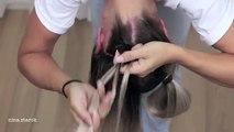 Tresser tressé petits pains vers le bas coiffures dans espace à lenvers |