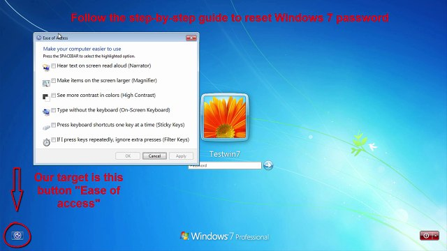 How to hack or reset windows 7 password without any software and installation media.