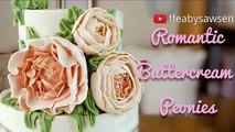 Beau gâteau une fleur Comment pivoines pivoine se leva ébouriffé Couronne Bouquets 3/5 buttercream t