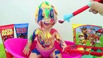 Bébé bain pétillant par par en changeant couleur poupée petit maman peindre patrouille patte avec Disney de bain