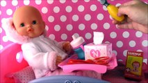 Nenuco Runny Nose Baby Doll! Doll Hospital BED Runny Nose with real BOOGIES! Surprise TOYS!