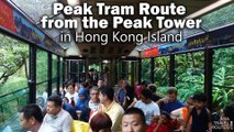 Peak Tram Route from the Peak Tower upper terminus to the Garden Road lower terminus