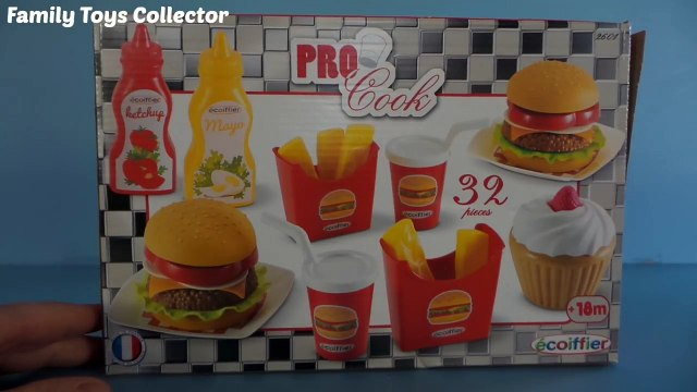 Toy kitchen burger play set Mc French Fries playing burger & cupcakes toy unboxing by écoiffier