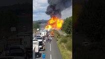 un camion transportant des bouteilles de gaz prend feu sur la RN10 (Charente-Maritime)