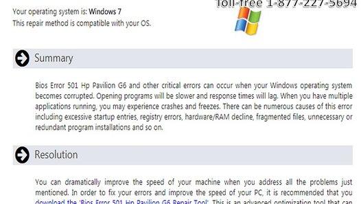 1-877-227-5694 How To Fix Bios Error 501 Hp Pavilion G6