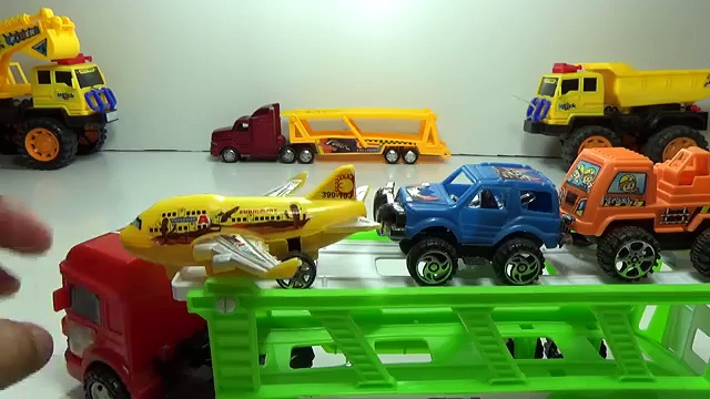 mother trucks and plane, cars, small trucks