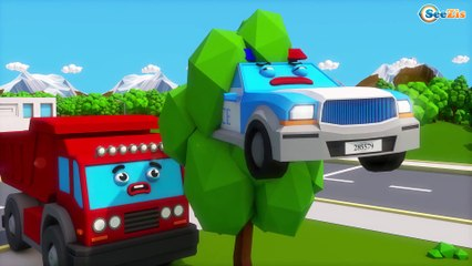 Colors for Children to Learn with Street Vehicles Jumping Police Car Little Cars & Trucks for Kids