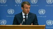 Conférence de presse d'Emmanuel Macron au siège des Nations Unies à New York