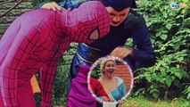 Spiderman Color prank w/ Joker, Frozen Elsa Superheroes in real life