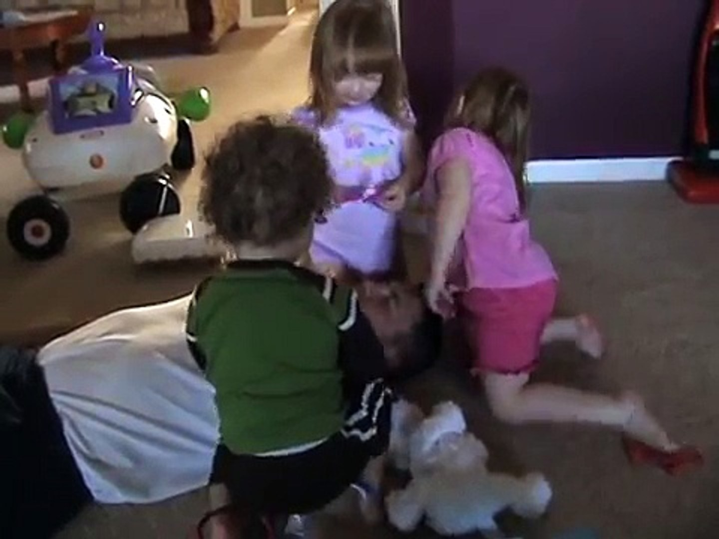kids playing doctor with daddy
