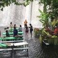 Un restaurant les pieds dans l'eau en face d'une chute d'eau magnifique