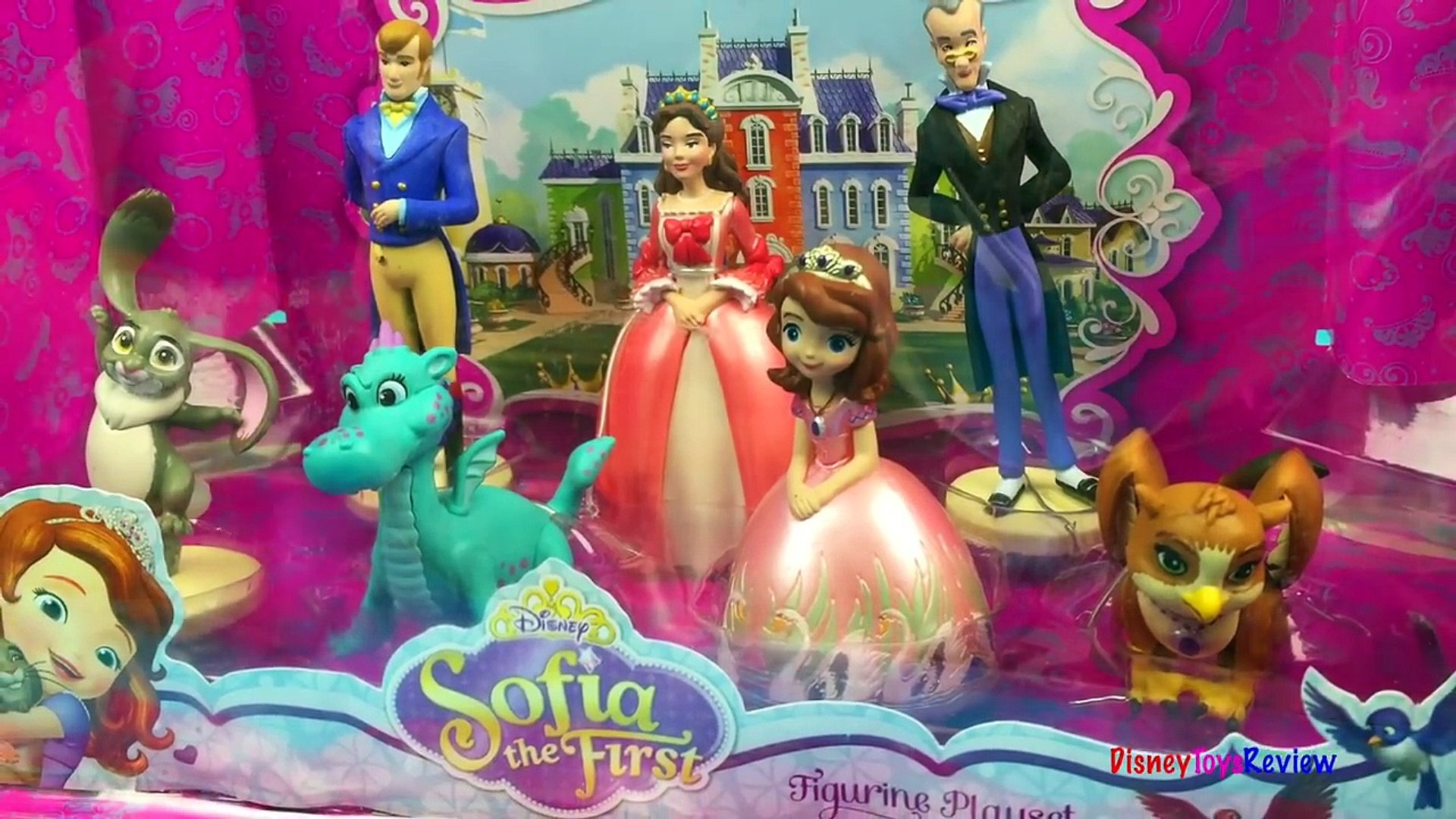 Disney Princess Sofia the First Figurine Set Queen Miranda Baileywick Clover Crackle and Baby